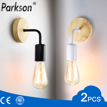 2Pcs/lot E27 Wood Wall Lamp Retro Sconce Wall Light 110V 220V Vintage Industrial Wall Lamp Bedside Lamp For Indoor Decor Fixture