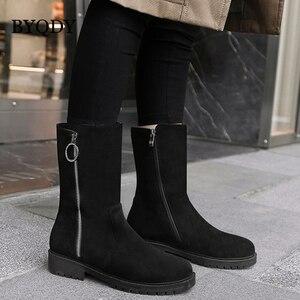 Женские повседневные ботинки на молнии BYQDY, Теплые повседневные ботинки на массивном каблуке, женские ботинки больших размеров 42 43