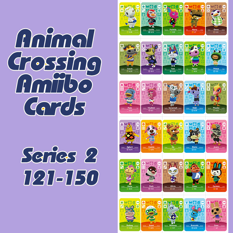 1PCS Animal Crossing New Horizons Amiibo Card For NS Switch 3DS Game Lobo Card Set Series 2 (121-150)