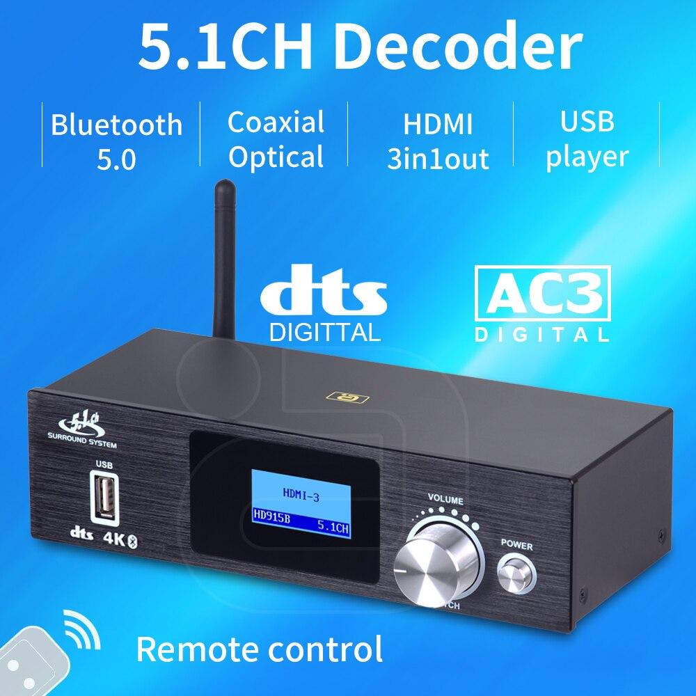 5.1CH Audio Decoder Bluetooth 5.0  Reciever  HDMI-compatible DAC DTS AC3 4K*2K Extractor Converter SPDIF ARC HD915