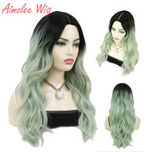 Aimolee Women's Ombre Wigs Hair Mint Green Synthetic Natural Long Curly