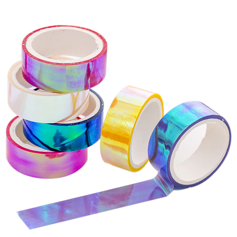 1PC 15mm 5m Laser Glitter Washi Tape Candy Colors Decorative Adhesive Masking Tapes For Scrapbooking DIY Albums Stationery Tape
