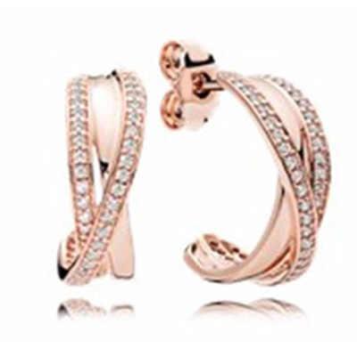 PDB ED 03 RLLEN der Original 100% 925 Sterling Silber Ohrringe Logo Europäischen-stil Glänzende Rose Gold Schmuck Ohrringe.