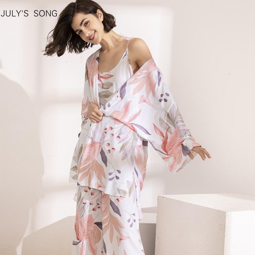 JULY'S SONG 3 PCS Women Pajamas Set Viscose Floral Printed Female Pyjama Loose Elegant Pink Leave Female Nightwear Spring Summer