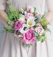 PEORCHID Pink Wedding Boquet Bridal Artificial Silk Flower Real Touch Calla Lily Rose Bouquet For Bride Ramos De Boda