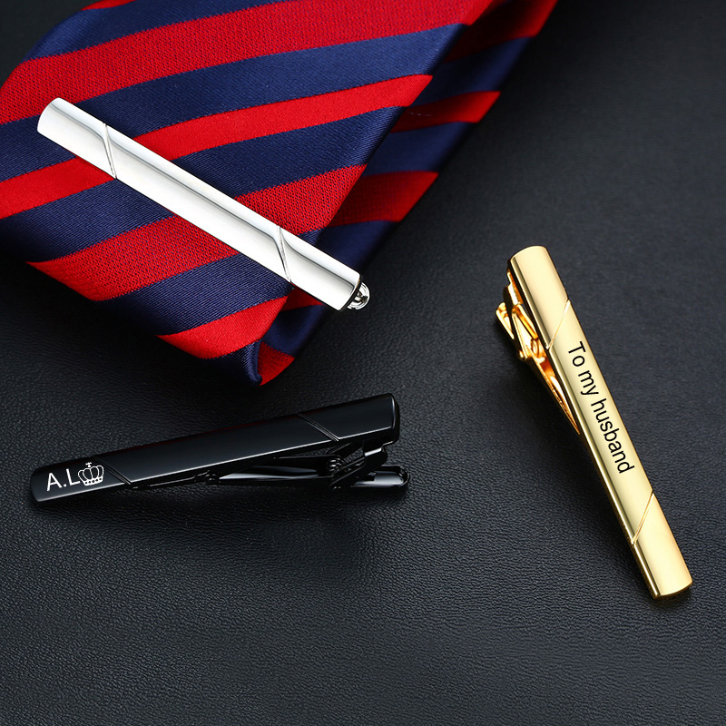 Personalized Custom Engrave Inital Name Stainless Steel Tie Clip Bar For Men Fathers Husband Day Gift