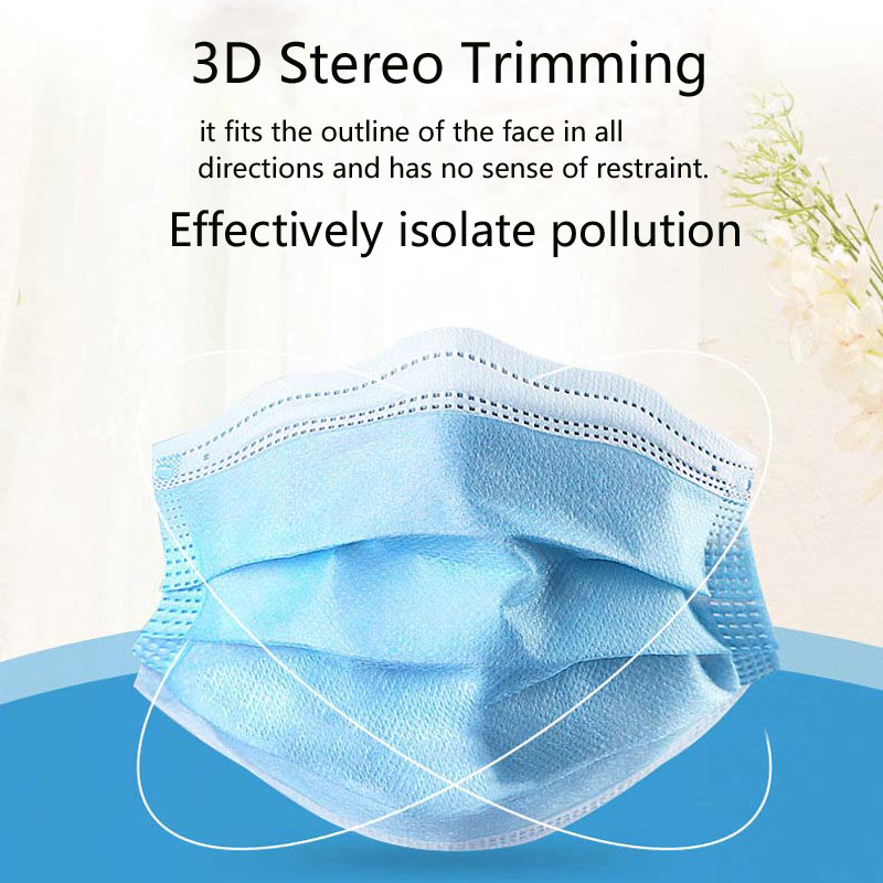 Image 2 - 50pcs Disposable Face Mask Non Woven 3 Layers Dental  Earloop  Masks Anti dust virus Safe Breathable Mouth Face Masks Blue  -