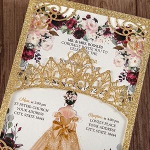 Image 5 - 100 шт. блестящие лазерные вырезы приглашения Quinceanera золотого цвета свадебные карманы с конвертом