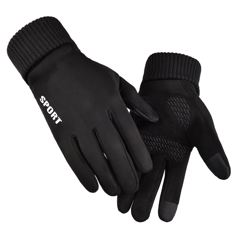 Winter Men Driving Gloves Anti Slip Windproof Thermal Warm Touchscreen Glove Breathable Winter Men's Black Suede Gloves Mittens