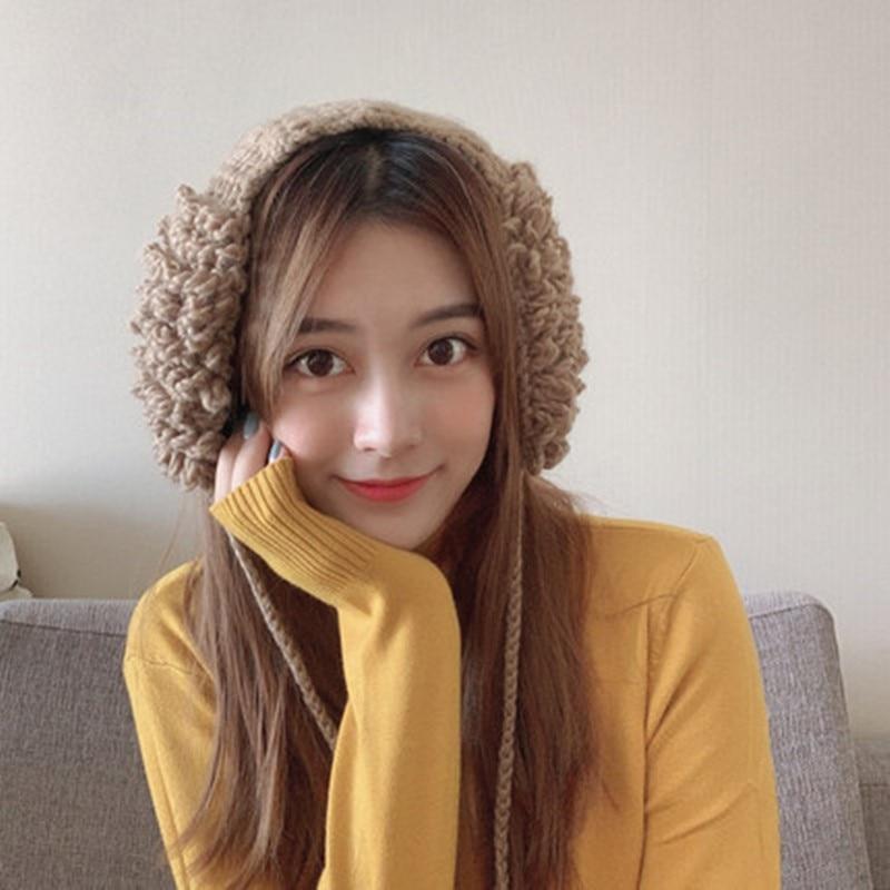 2019 New Earmuffs For Women Winter Korean Version Sweet And Lovely Warm Tie Ball Earmuffs Winter Knitting Wool Ear Muffs