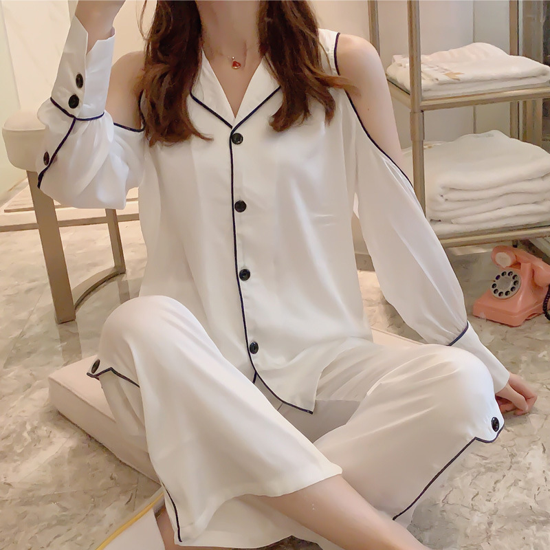 White Model Silk Pajamas Women's Spring Cardigan Long Sleeve Sexy Off-Shoulder Fashion Outer Wear Tracksuit