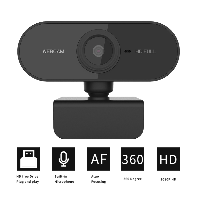 Webcam 1080P Full HD Web Camera With Built-in Microphone USB Plug Web Cam For PC Computer Mac Laptop Desktop Win10 Free Drive