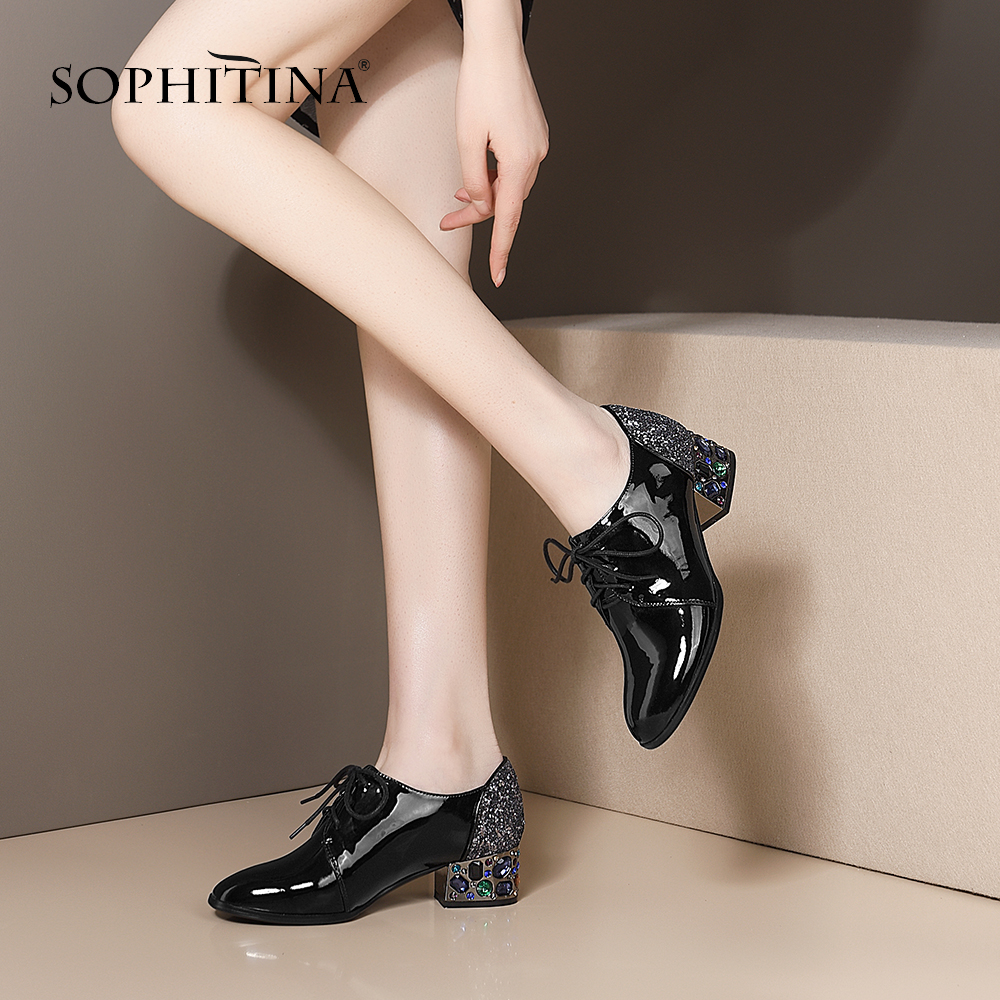 SOPHITINA New Casual Women Pumps Fashion High Quality Cow Leather Bling Crystal Decoration Lace-Up Shoes Comfortable Pumps PO406