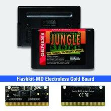 Pcb-Card Video-Game-Console Sega Flashkit Electroless Gold for Genesis Megadrive Jungle-Strike-Usa-Label