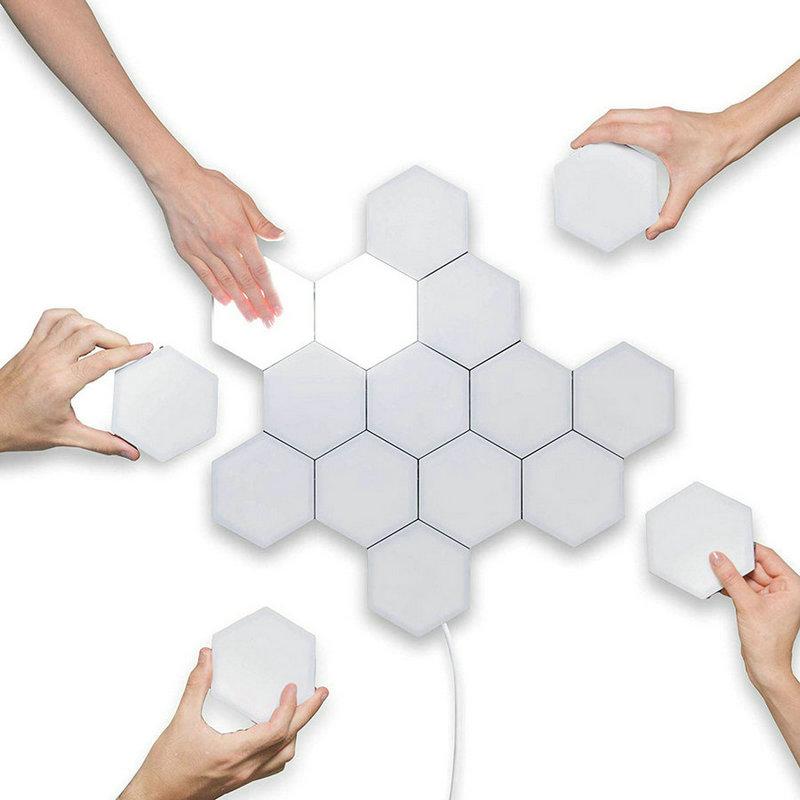 Diy quantum luz sensível ao toque sensor noite lâmpada modular hexagonal led luzes magnéticas lâmpada de parede luz da noite - 3