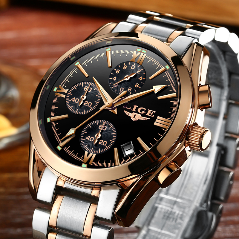 Relogio Masculino LIGE New Men Top Luxury Brand Militar Watch Men's Quartz Clock Male Full Steel Casual Business gold watch+Box
