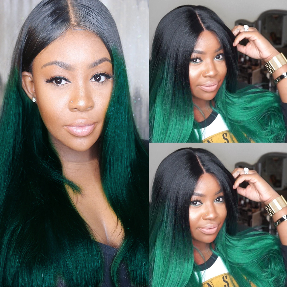Colored Human Hair Wigs With Baby Hair 150% Remy Brazilian Wig Green Straight Lace Front Wig Dark Roots 13x4 Preplucked Lace Wig