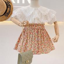2021 Spring Summer Girls' Clothing Sets Lace Lapel Tops+Floral Short Skirt 2Pcs Suit Princess Toddler Baby Kids Children Clothes