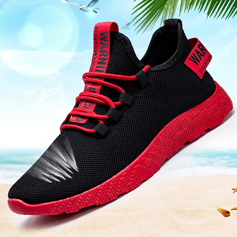 Mens Shoes Casual Shallow Air Mesh Comfortable High Top Sneakers For Men Lace Up Red Bottom Running Shoes Boys Mixed Colors