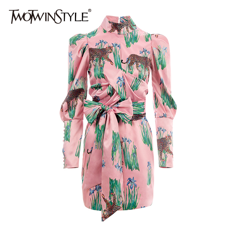 TWOTWINSTYLE Casual Print Women Dresses Stand Collar Puff Long Sleeve High Waist Lace Bow Hit Color Dress For Female Fashion New