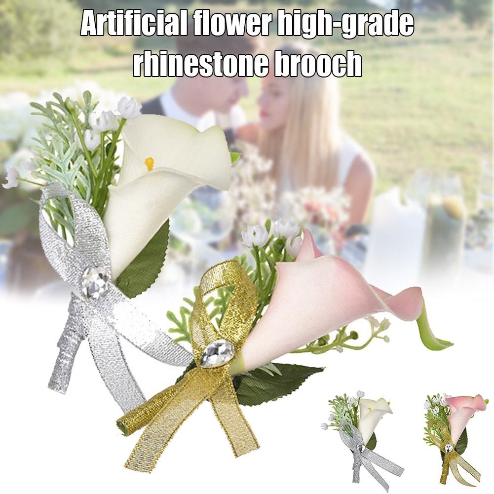 Bridesmaid Boutonniere Handmade Flower Corsage with Pin and Clip for Wedding