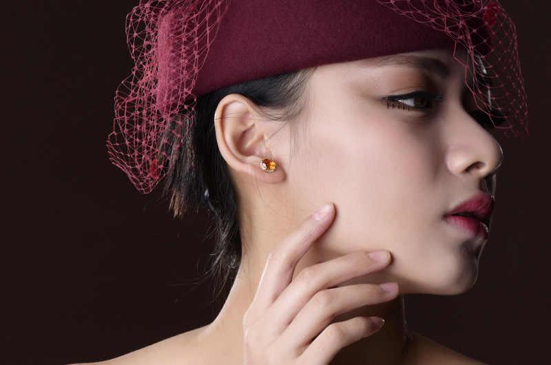 925 สเตอร์ลิงเงิน Stud ต่างหูสำหรับผู้หญิงคริสตัล Micro Inlay Cubic Zirconia ต่างหูอุปกรณ์เสริมเครื่องประดับของขวัญ
