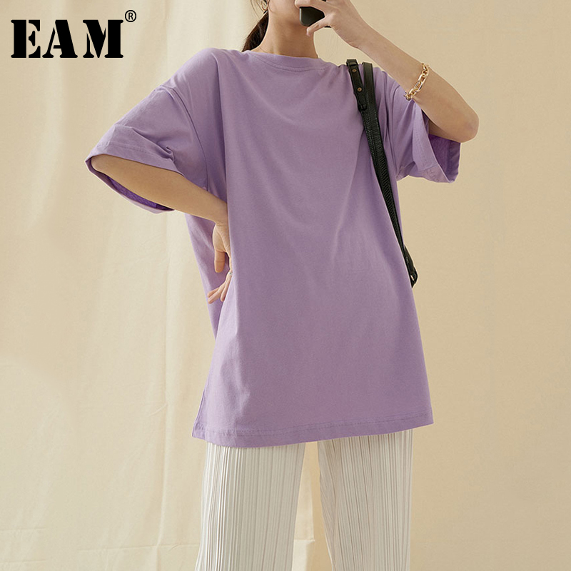 [EAM] Women Purple Brief Temperament Big Size Long T-shirt New Round Neck Long Sleeve  Fashion Tide  Spring Summer 2020 1T595