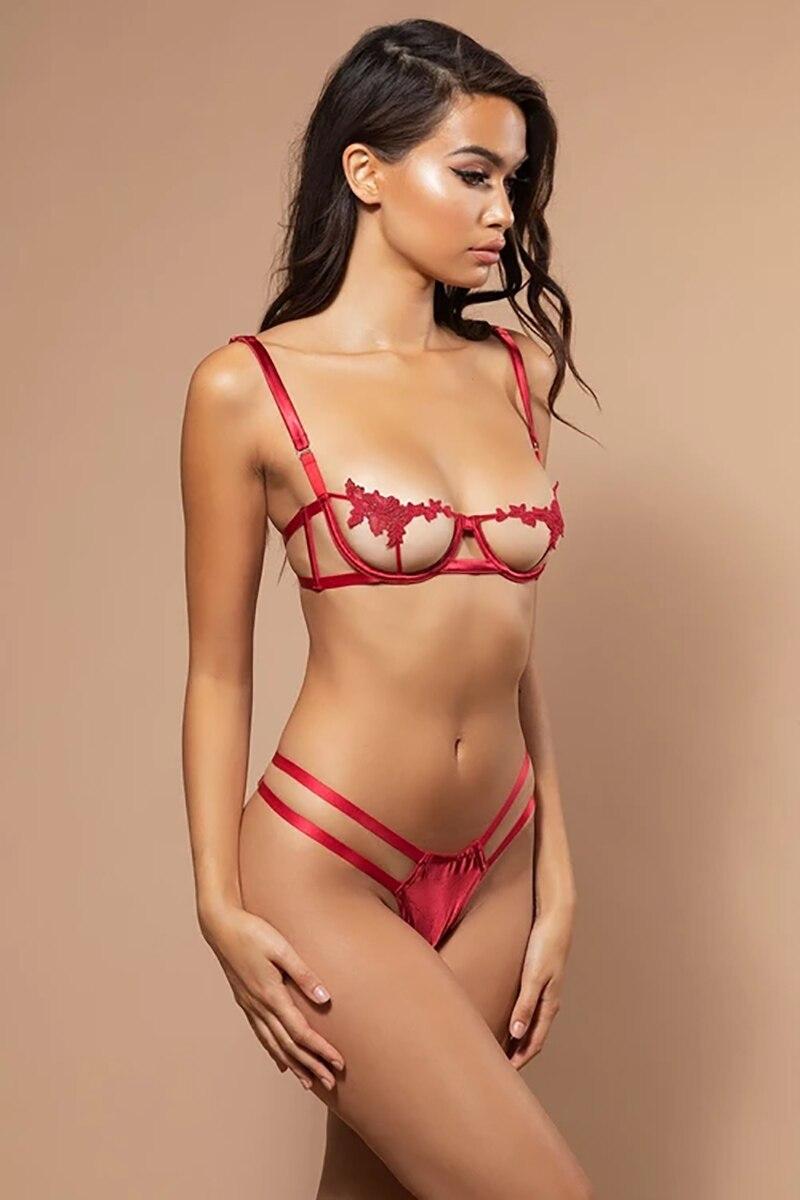Ellolace Sexy sous-vêtements femmes ensemble maille Lingerie 2 pièces ensemble voir à travers Bralette et string pansement G-String bretelles Spaghetti