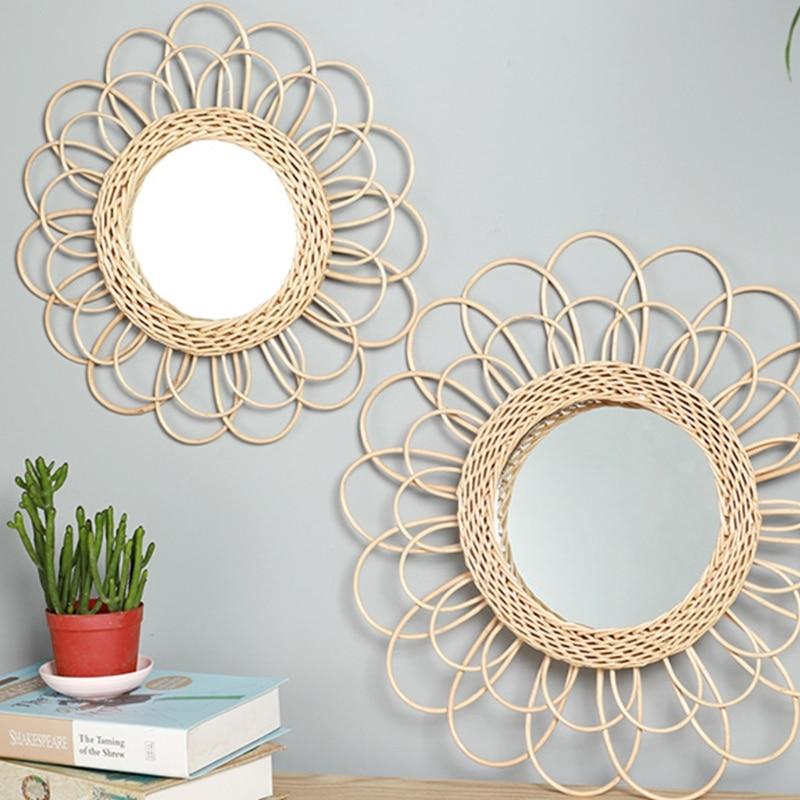 Декоративное зеркало в форме солнца из ротанга, инновационное художественное украшение, круглое зеркало для макияжа, туалетное настенное в...