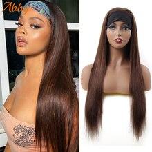 Парики #2 с прямой головной повязкой для женщин, 99J/коричневый цвет, прямые безклеевые парики из человеческих волос, плотность 180%, монгольски...