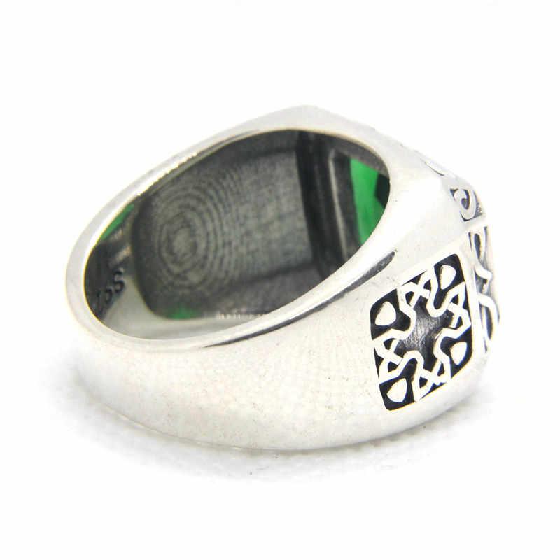 สนับสนุน Dropship ขนาด 6-12 ชาย 925 เงินสเตอร์ลิงสีเขียวแหวนเครื่องประดับ S925 สีเขียวหินแหวน
