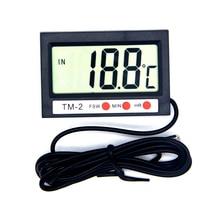 Mini Convenient Digital LCD Indoor Outdoor Temperature Sensor Thermometer Meter Gauge With Time and Alarm Clock
