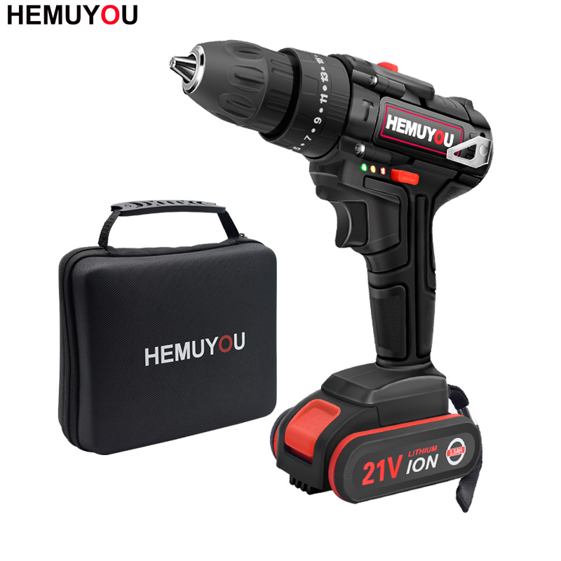 21V Impact Hammer Drill Household Rechargeable Mini Drill Cordless Screwdriver Power Tool + 3/8 Inch 2 Speed