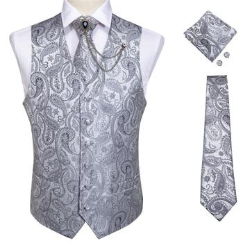 New Teal Green Paisley 100% Silk Formal Dress Vest Men Waistcoat Vest Wedding Party Vest Tie Brooch Pocket Square Set DiBanGu 26