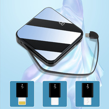 LCD Mirror Screen Mini Power Bank A18 10000mAh Ultra-Thin Built-in 3 In1 Cable Phone Charger Portable External Battery