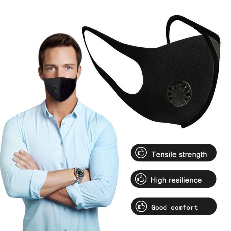 Черная маска для рта, Пылезащитная маска с активированным углем, ветронепроницаемые маски для лица для защиты от гриппа, маска KN95 N95