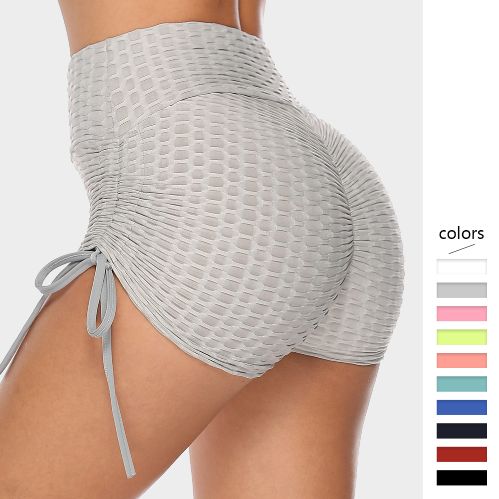 Jacquard Weave Women Shorts With Drawstring High Waist Sports Gym Short Pants Stretchy Workout Short Trousers Comfortable