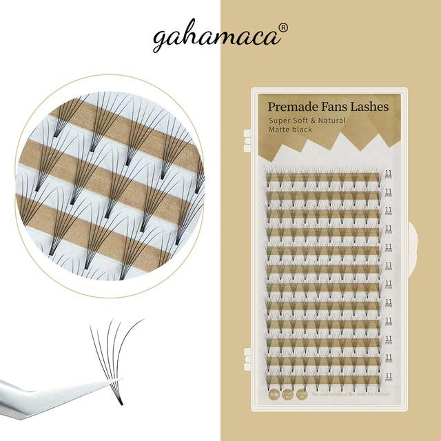 GAHAMACA Lashes Premade Wide Fans 2d/3d/4d/5d/6d Short Stem Individual Russian Volume Eyelash Extensions Faux Mink Makeup Tool 1