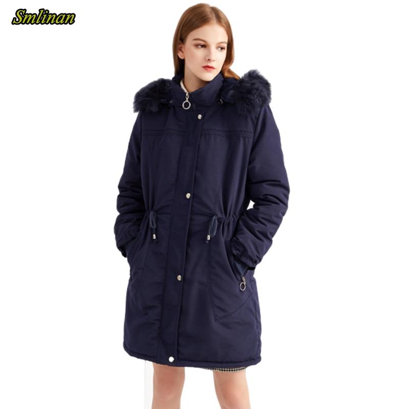 Smlinan 2020 Faux Fur Collar Hooded Coat Female Winter Thiack Warm Cotton Padded Jacket Women Outwear Plus Size Long Parka Mujer