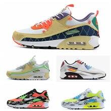 Maxes 90-zapatillas de correr para hombre y mujer, color verde camuflaje, naranja, gris claro, violeta, infrarrojo, blanco y negro, Escape