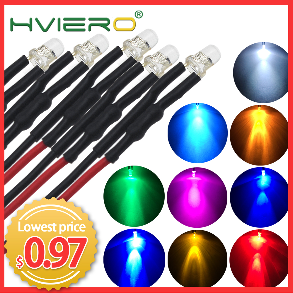 20 White Color Pre Wired LEDs 5mm Ultra Bright 3-42V DC Light Lamp Car Auto