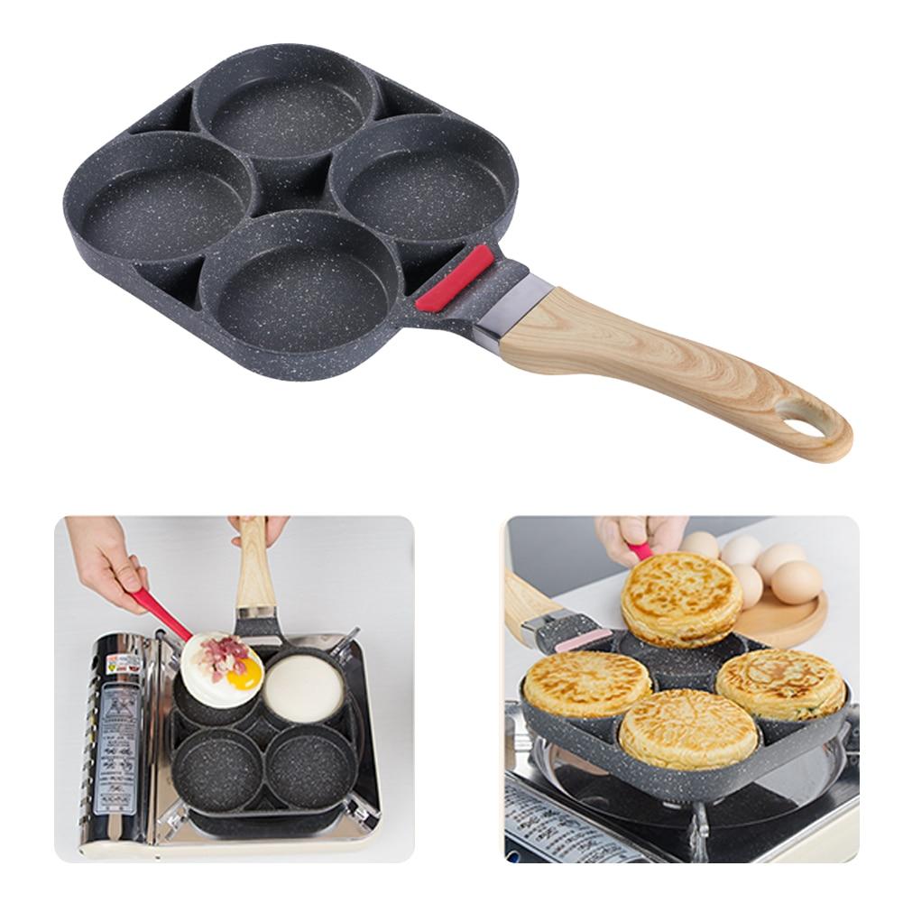 Сковорода кухонная с 4 отверстиями для яиц, антипригарная Сковороды    АлиЭкспресс
