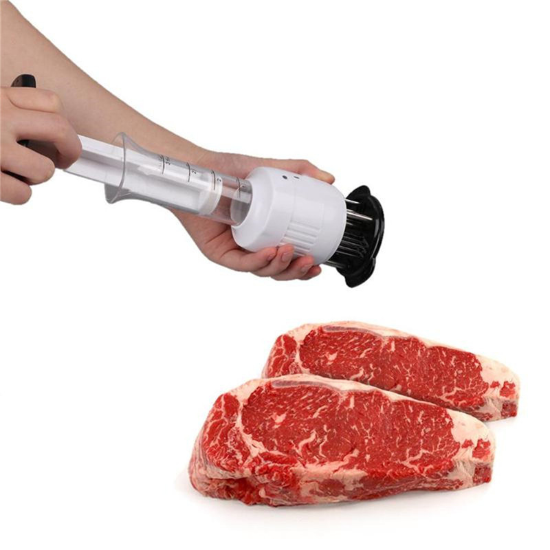 Stainless Steel Meat Tenderizer Quick Done Injection Type Steak Needles Marinade Flavor Syringe Kitchen Gadget Kitchenware image