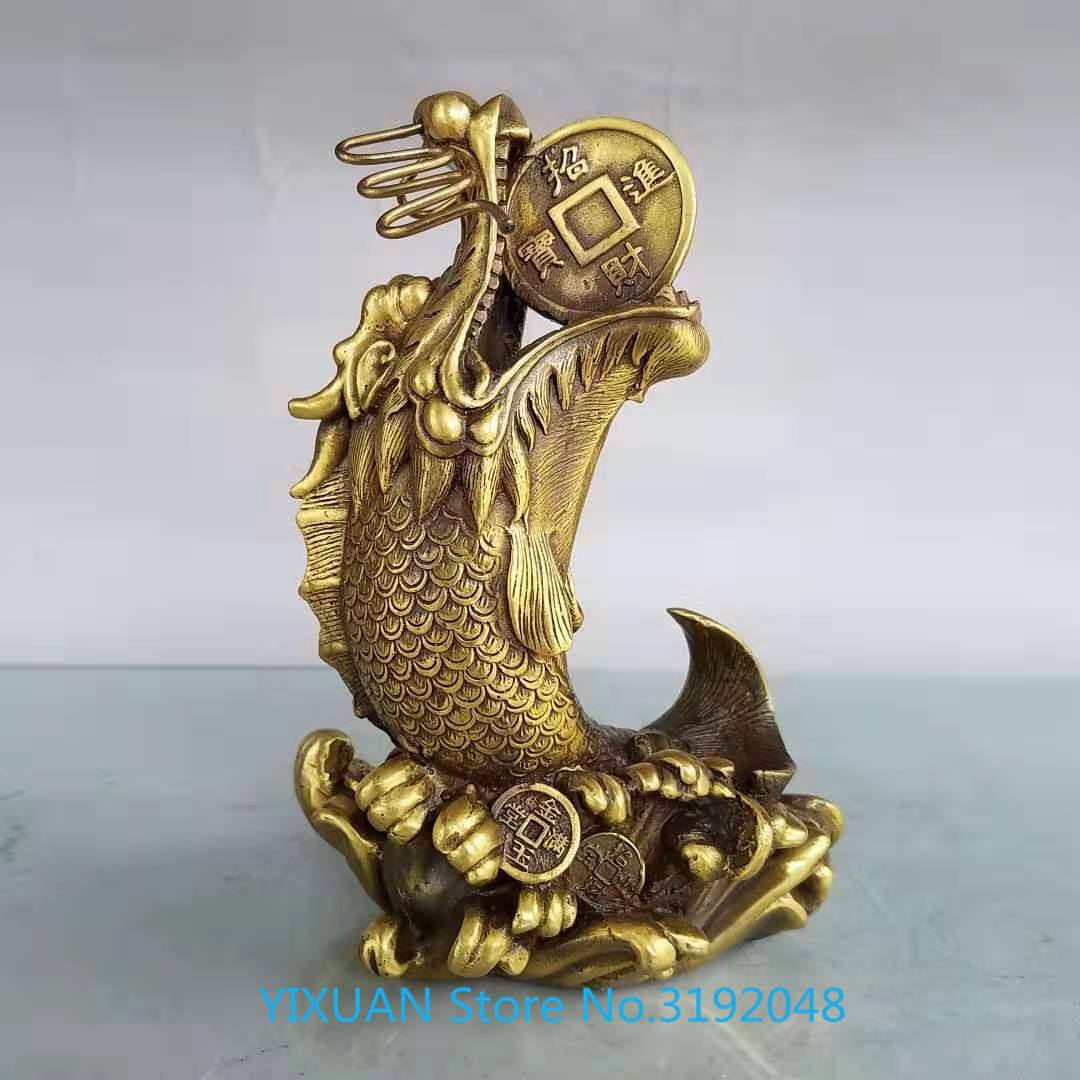 Pure copper Dragon Fish Ornament Zhaocai living room opening gift home decoration hotel shop Fengshui furnishing