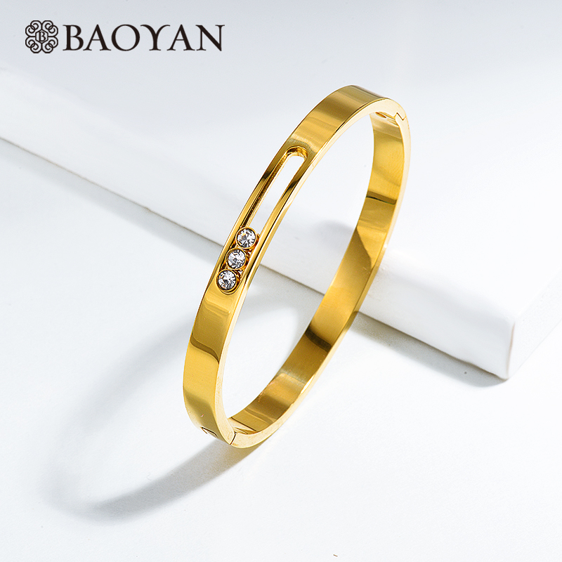 Baoyan Luxury Bangles Bracelets Ladies Fashion Jewelry Moveable CZ Crystal Gold/Silver Stainless Steel For Women