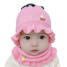 Winter Knitted Baby Girl Hat Infant Warm Baby Bonnet Enfant Hats Kids Cap for Girls Children Hat Scarf Set Newborn Photo Props(China)