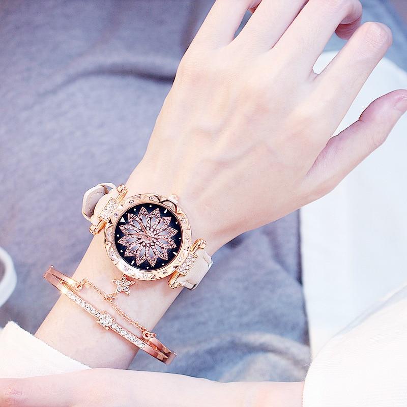 2019 kobiet zegarki zestaw Starry Sky bransoletka damska zegarek Casual skórzany sportowy zegarek kwarcowy zegar Relogio Feminino 3