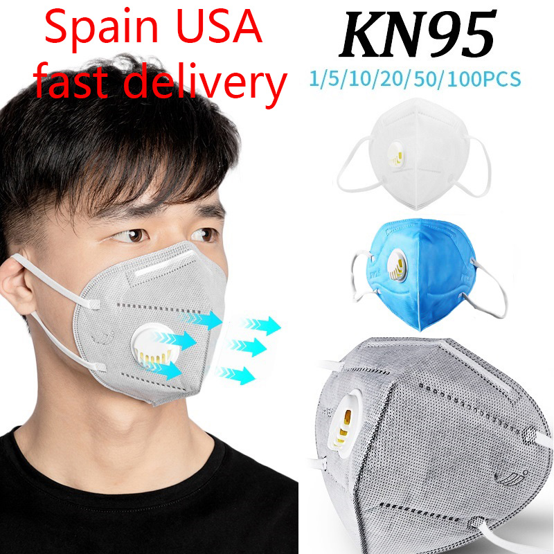 Spain USA Fast Delivery 50/100pcs KN95 Face Mask 5 Layer Valve PM 2.5 Mask Safety Same As KF94 FFP3 Anti-dust Protection