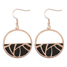 Trendy Interchangeable Leather Round Drop Earring Hanging Dangle Earrings Jewelry Stainless Steel Earring for Women(China)