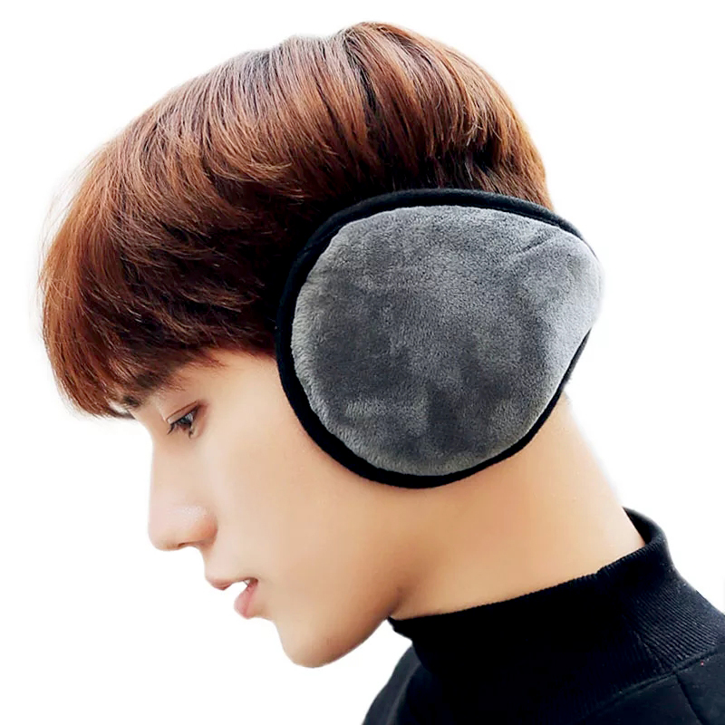 Back-wearing Style Earmuffs Women Men Winter Earmuffs Outdoor Foldable Thicken Plush Knitted Earmuffs Earcap Ear Warmer Cover